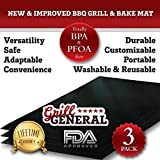SET OF 3! NEW & IMPROVED BBQ GRILL & BAKE MAT - DURABLE, CUSTOMIZABLE, PORTABLE, WASHABLE & REUSABLE - FDA Approved - 100% Guaranteed to Make your Food Taste Better
