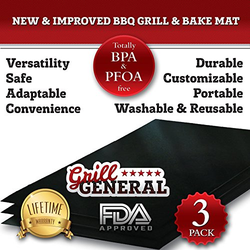 6 GRILL MATS!! NEW & IMPROVED BBQ GRILL & BAKE MAT - DURABLE, CUSTOMIZABLE, PORTABLE, WASHABLE & REUSABLE - FDA Approved - 100% Guaranteed to Make your Food Taste Better or your Money Back!