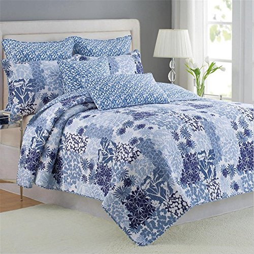100% Cotton 3-Piece Patchwork Bedspread Quilt Sets Fit Queen King Size Bed (Blue King Size Quilt compare prices)