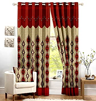 Red Curtains amazon red curtains : Buy Curtain / Contemporary Design - Door Curtains - Red Color ...