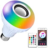 Bluetooth Light Bulb Speaker RGB Changing Lamp Dimmable LED Music Light Bulb E26 Base Bluetooth 4.0 with Remote Control for Home/Stage (Color: Rgb+white)