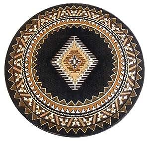 south west native american round area rug design kingdom 143 black 6 feet 8 inch x. Black Bedroom Furniture Sets. Home Design Ideas