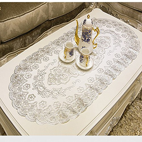 Ustide Cheap Silver Sequin Table Cloth Palace Floral Silver Tablecloths PVC  Waterproof Oval Silver Placemats for