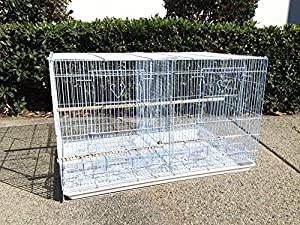 Mcage Lot of Breeding Bird Flight Cages for Canary Parakeet Aviaries Budgies Lovebird Finch (Large 30 White Divider) (Color: Large 30 White Divider, Tamaño: 24 x 16 x 16H)