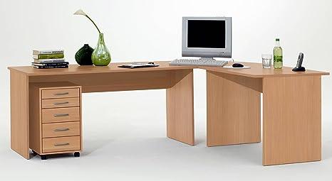 Schreibtisch Eckschreibtisch Winkelschreibtisch in Buche mit Rollcontainer
