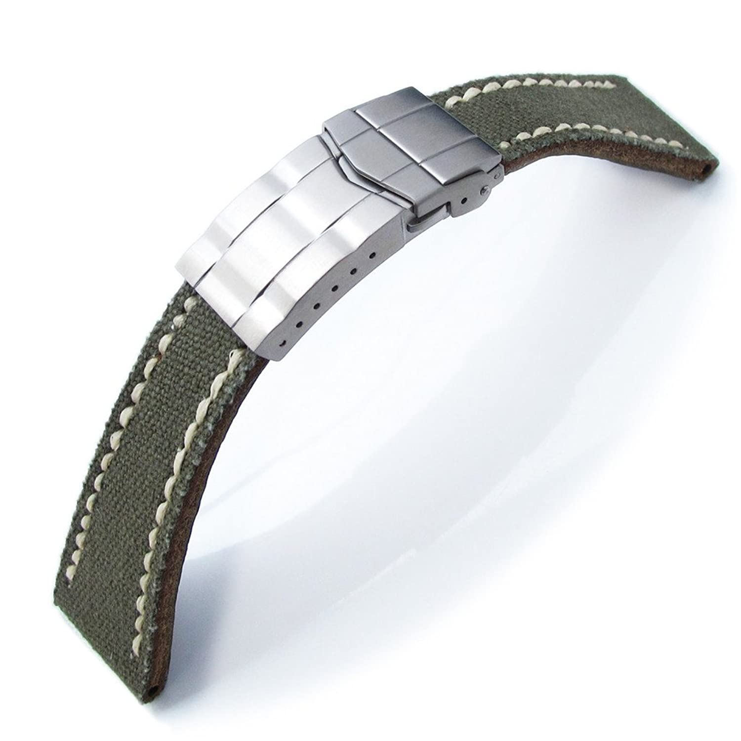 все цены на 21mm MiLTAT Military Green Canvas Submariner Clasp Watch Strap, Wax Hand Stitching