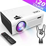 QKK 2400Lumens Mini Projector - Home Theater Projector for Indoor & Outdoor Movies & Video Games, Compatible with TV Box, PS4, DVD Player, Smartphones, 50,000 Hours LED Projector (White) (Color: White)