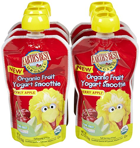 Earth's Best Sesame Street Fruit Yogurt Smoothies - Cherry Apple - 4.2 oz - 6 pk