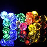Sunniemart 20 Led Round Ball Solar Powered Fairy String Lights Decorative Outdoor Christmas Tree Gardens Indoor Party Wedding Patio Ornaments (Multi Color)