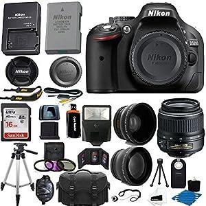 Nikon D5200 24.1 MP CMOS Digital SLR Camera (Black) 18-55mm f/3.5-5.6G VR AF-S DX Zoom Autofocus Lens + 2x Professional Lens + HD Wide Angle Lens + 16GB Bundle International Version (No Warranty)