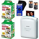 Fujifilm Instax Share SP-1 Smartphone Printer + Fujifilm Instax Mini Instant Film (40 sheets) + 2 CR2 Lithium Replacement Batteries + HeroFiber® Ultra Gentle Cleaning Cloth