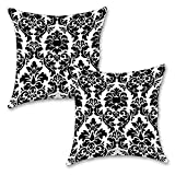 "Black And White Floral 16''x16"" Inches Set Of Two Cushion Cover By BS"