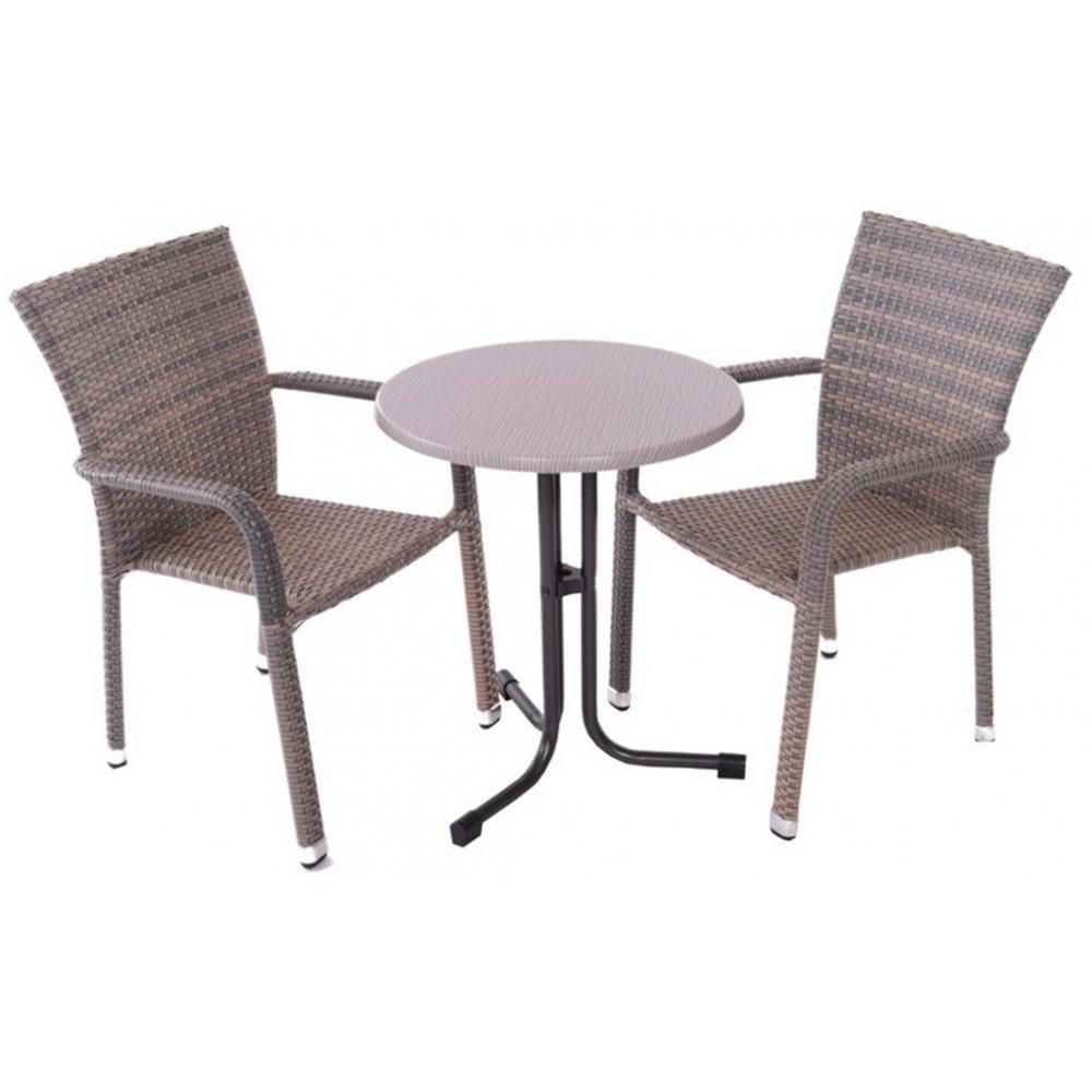 JUSThome Manila Gartenmöbel Sitzgruppe Gartengarnitur Set 2x Stuhl + 1x Tisch aus Technorattan Beige günstig kaufen