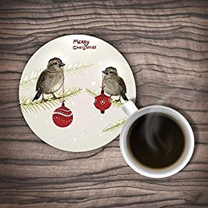 Ushopping Customized Two Birds With A Red Light Ball In Their Mouth In The Tree Rubber Coasters, Set Of 4