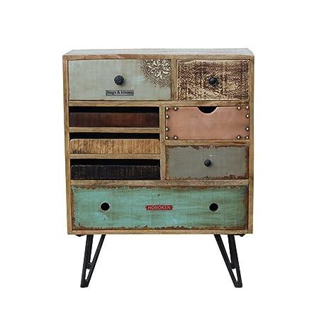Commode vintage à tiroirs en bois Fusion - Couleur - Bois / Métal