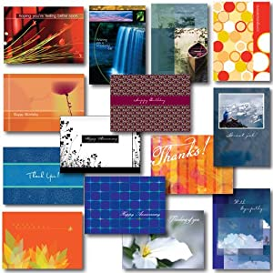 All-occasion Greeting Card Assortment--a Variety Box Set of 30 Cards and Envelopes for most common sending situations: birthday, anniversary, congratulations, get well, sympathy and thank you. For both personal and business use. Satisfaction guaranteed.