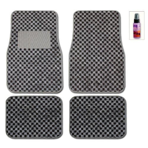 New Universal Size Elegant Designer Checker Print Car Carpet Floor Mats Set With Purple Slice The Multipurpose Cleaner front-357778