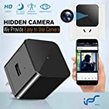 Hidden Camera WiFi Wall Charger Spy Cam Plug with Night Vision Spy USB Camera 1080P Hidden Wireless with Motion Detection for iOS and Android Phone (Color: Black)