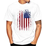 Men Plus Size Flag Print Tees,Hemlock American Flag Cotton Blouse Tees T Shirt Tops July Fourth (XXL, White) (Color: White, Tamaño: XX-Large)