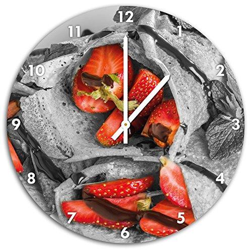 délicieuses crêpes aux fraises et chocolat glaçage noir / blanc, diamètre 48cm horloge murale avec blanc tops les mains et le visage, objets décoratifs, Designuhr, aluminium composite très agréable pour salon, bureau