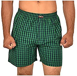 CALICO Men's Cotton Boxers (CAL_02_M, Green and Black, M)