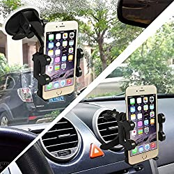 Asscom 2-in-1 Windshield Dashboard Mobile Phone Car Mount Fits Iphone 6, 6plus, 5, 5s, 5c, 4, 4s, Android Samsung Galaxy S5, S4, S3, Note 2,3,4 and All Other Smartphones
