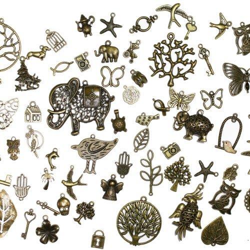About 100 pcs Mixed antique Bronze assorted mix tibetan charms, pendants, elephants, birds, hearts, Tree of life, Keys, ocean life by DIYJewelryDepot