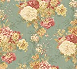 Waverly 5513033 20.5-Inch Wide Ballad Bouquet Wallpaper, Blue and Rose