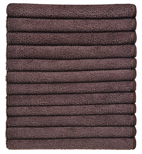Sinland Absorbent Microfiber Dish Cloth Kitchen Streak Free Cleaning Cloth Dish Rags Lens Cloths 12 Inch X 12 Inch 12pack Dark Brown (Espresso Dishes compare prices)