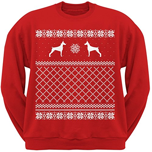 Doberman Pinscher Red Adult Ugly Christmas Sweater Crew Neck Sweatshirt - Large