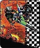 SOFTKIITY Custom Motorcross Racing Dirtbike Checkered Flag Throw Blanket Size 58inch x 80inch (Large)