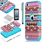 Pandamimi ULAK (TM) Hybrid Pink Hard Aztec Tribal Pattern + Blue Silicon Case Cover For Apple iPod Touch (Generation 5) +Screen Protector +Stylus