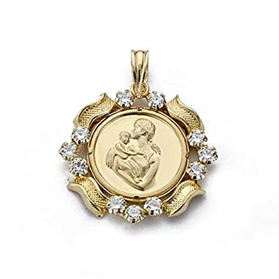 18k gold pendant 21mm coin mother. zircons [8813]