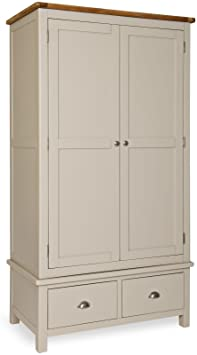 STONE PAINTED OAK GENTS WARDROBE WITH DRAWER