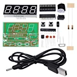 WHDTS 4 Bits Digital Clock Kits with PCB for Soldering Practice Learning Electronics with English Instructions (Color: 4 Bits Clock Kit)