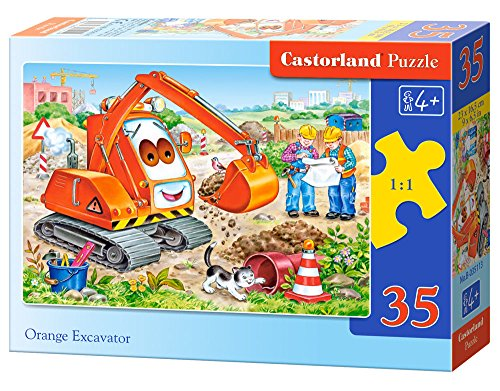 Castorland Orange Excavator Midi Jigsaw (35-Piece) - 1
