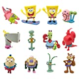 JAMOR SpongeBob 12Pcs,Patrick Star,Squidward Tentacles,Eugene H. Krabs Wait (Color: 12, Tamaño: 7-12cm)