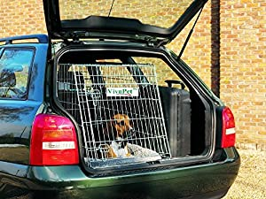 VivaPet In Car Sloping Transport Travel Mobile Dog Puppy Cat Metal Cage Crate Kennel Pen Enclosure with Non-Chew Metal Metal Tray and Slanted Front for Car, Black, 30inch L x 21inch W x 24inch H (76cm x 54cm x 61cm), Slanted Front for Car, Medium, Suitabl