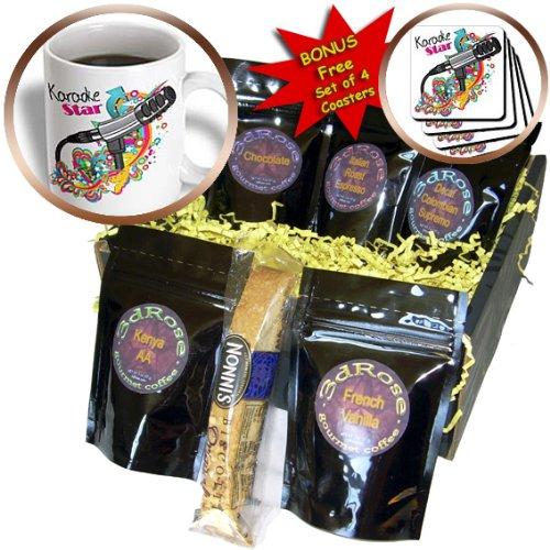 Cgb_115368_1 Dooni Designs Music Designs - Karaoke Star Singer Mondern Colorful Pop Art Vector Mic Microphone - Coffee Gift Baskets - Coffee Gift Basket