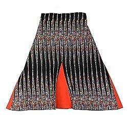 Ssmitn Orange and Black Color Cotton Skirt
