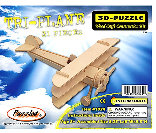 3-D Wooden Puzzle - Small Triplane Model -Affordable Gift for your Little One! Item #DCHI-WPZ-P074