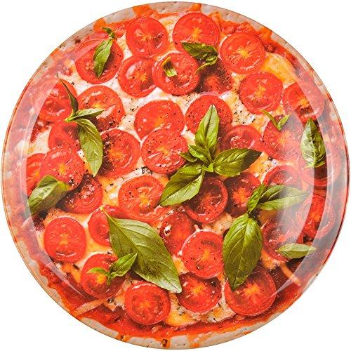 Plat rond Trompe-l'oeil Pizza Rouge Mélamine La chaise longue 36-1K-060