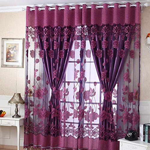 Coper Print Floral Voile Door Window Room Curtain With Flowers Design 79 x 40 inch (Purple) (Window Cover 39 Inch Length compare prices)