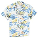 Men's short sleeve button down Hawaiian shirts perfect for vacation or bringing some tropical feel back home. Comfortable lightweight Hawaiian shirt at a great price.