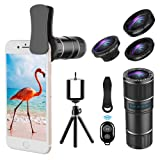 Phone Telephoto Lens, 4 in 1 Cell Phone Camera Lens, 14X Telephoto Lens + 180° Fisheye Lens + 15X Macro Lens + 0.65X Wide Angle Lens, Clip On Phone Lens Compatible for iPhone Samsung Android (Color: 14X Lens Kit)