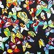 "Robe en coton pur Black Butterfly Tissu Imprimer Artisanat 41 "" Wd Faire Kurti Inde 1 Pc Artisanat Tissu"