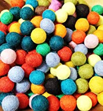 Yarn Place Felt Balls - 100 Pure Wool Beads 15mm Mixed Colorful Colors