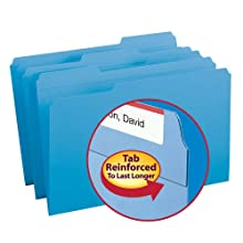 Smead 1/3-Cut File Folders, Heavy Duty Reinforced Tab, Legal Size, Blue, 100 Per Box (17034)