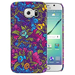 Theskinmantra Blue, Red flowers back cover for samsung Galaxy S6
