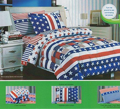Children's Twin Size Patriotic Flag Print Bedding Comforter Sheets Set, 5 Pieces